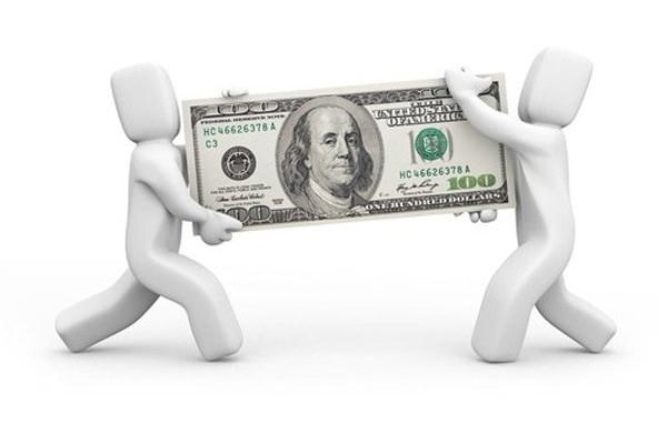 Человечек возвращает деньги в банк